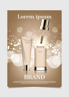 Cream and serum with bokeh on brown background