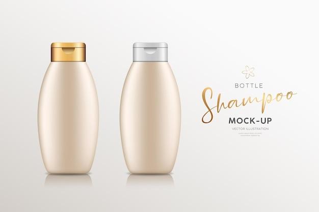 금색과 은색 캡 컬렉션이 있는 크림 샴푸 제품 병은 디자인 배경을 조롱합니다.