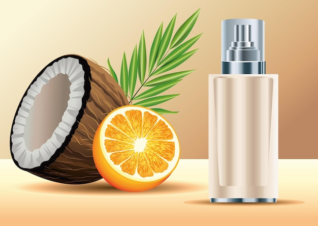 Cream skin care spray bottle product with coconut and orange  illustration