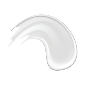 Cream smear of cosmetic white cream for skin isolated on background. skincare or moisturizer advertising. creamy smooth, smear cosmetic product. lotion swatch for face care
