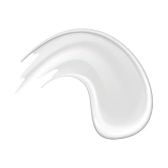 背景に分離された肌のための化粧品の白いクリームのクリーム塗抹標本。スキンケアまたは保湿剤の広告。クリーミーでなめらかなスミア化粧品。フェイスケア用ローション見本