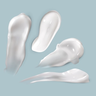 Cream smears. realistic cosmetic white creamy drop skincare product lotion thick smooth smear isolated texture