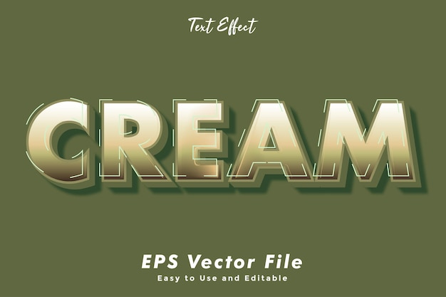 Cream text effect editable   typography effect