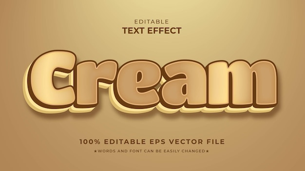 Редактируемый векторный файл eps с текстовыми эффектами cream