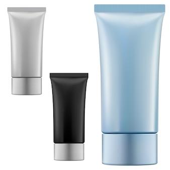 クリームチューブ。化粧品スクイーズパッケージブランク。プラスチック製の歯磨き粉の容器の現実的なテンプレート。柔軟な美容化粧容器。ハンドクリーム製品ボックス、フォーム、アフターシェーブジェル