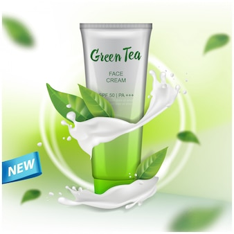 Cream  with green tea extract advertising for catalog, magazine.   of cosmetic package. gel, body lotion