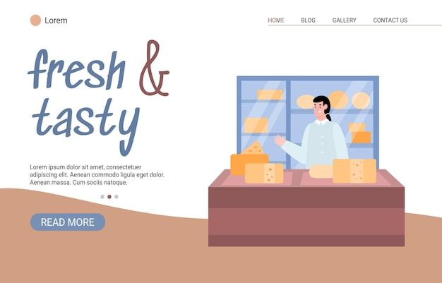 Creamery factory or cheese manufacture website cartoon vector illustration