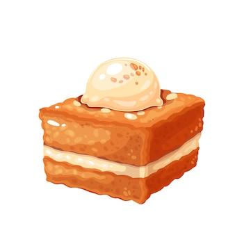Creamy bread kadayif turkish dessert vector illustration.