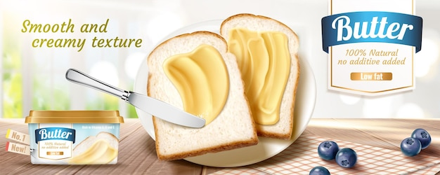 Баннерная реклама сливочного масла с вкусными тостами на деревянном столе в 3d иллюстрации