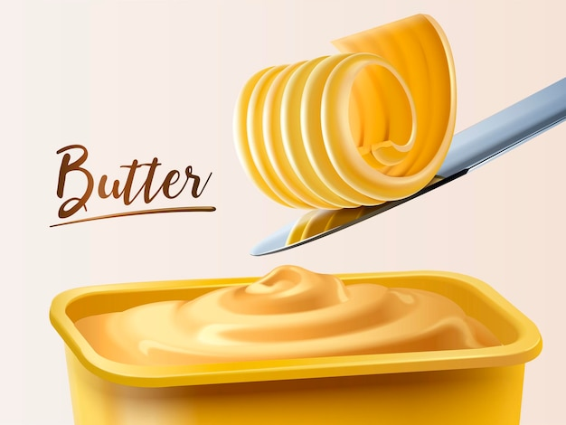 Creamy butter container, curl butter on knife