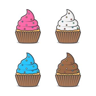 크림 컵 케이크 그림. 플랫 스타일의 맛있는 컵 케이크 세트