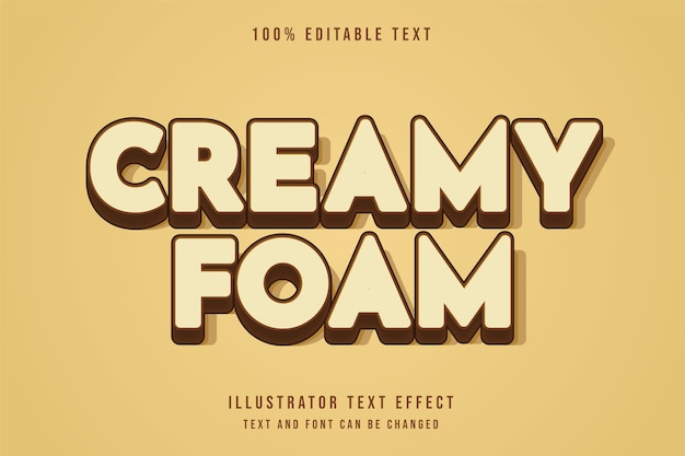 Creamy foam,3d editable text effect brown gradation style