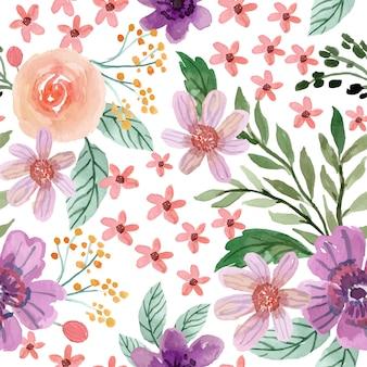 クリーミーなバラと柔らかい紫の花の水彩画のシームレスなパターン
