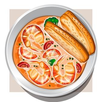 Крем-суп из креветок с овощами