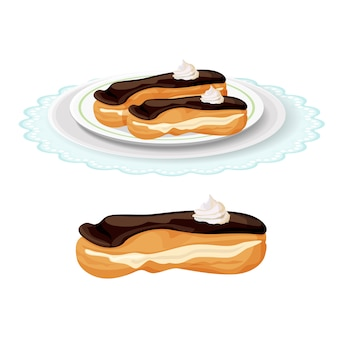 Creamy soft delicious eclair covered with chocolate on plate.