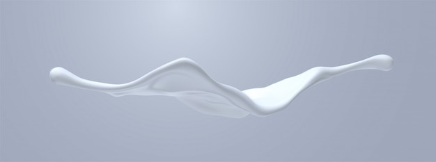 Creamy white liquid splash.   realistic 3d illustration. flowing milk. melted and dripping protein substance. isolated