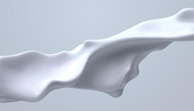 Кремово-белая жидкая волна. течет молочный ручей. расплавленное и капающее белковое вещество. изолированный крем всплеск.
