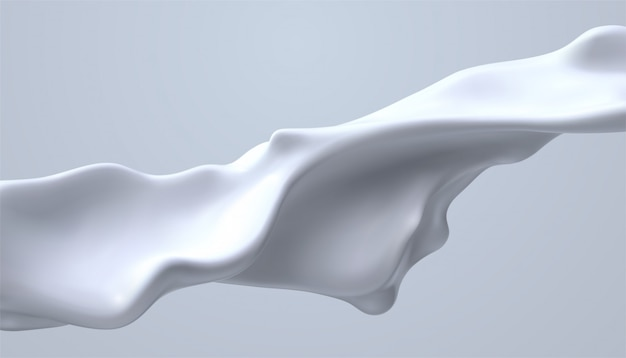 Creamy white liquid wave. flowing milky stream. melted and dripping protein substance. isolated cream splash.