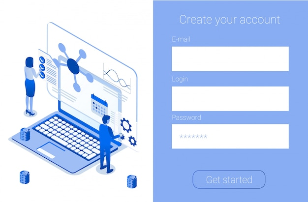 Create account online sign up company landing page