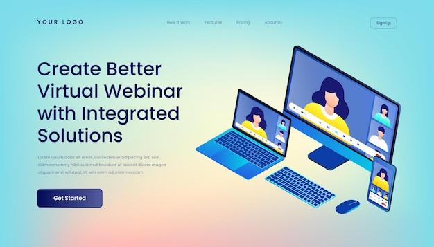 Создайте лучший виртуальный веб-семинар с помощью шаблона целевой страницы интегрированных решений с изометрической трехмерной иллюстрацией адаптивный пользовательский интерфейс мобильного рабочего стола