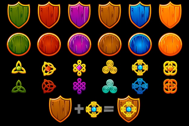 Create celtic shield set.  constructor to create kit different, game development.