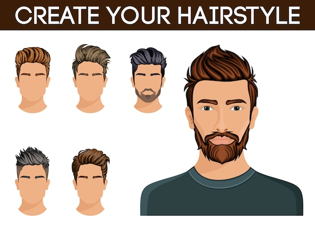 Create, change of hairstyle choices. men hair style hipster beard, mustache stylish, modern.