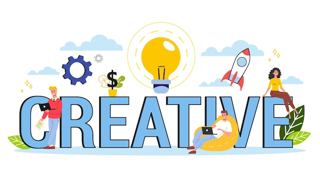 Create concept. idea of creative thinking and imagination
