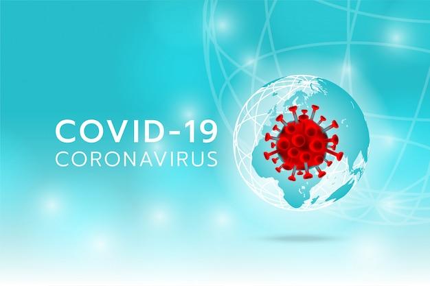Create coronavirus image on the earth and cyan background