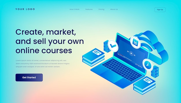 Create, market, and sell your own online courses landing page template with   isometric 3d   illustration desktop web user interface