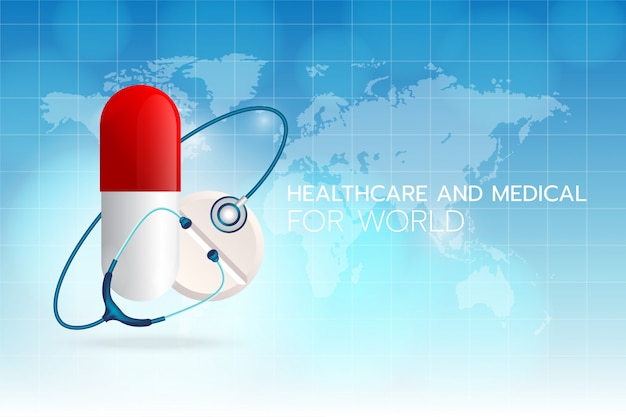 Create a medical stethoscope image round medicine on a cyan background with the world map and grid