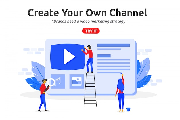 Create online video channel concept modern flat design