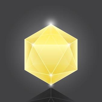 Создание геометрического элемента gemstone из полигона на сером фоне