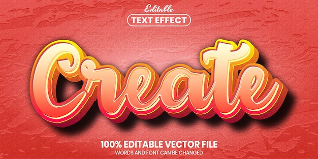 Create text, font style editable text effect