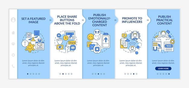 Create trending content tips onboarding vector template. responsive mobile website with icons. web page walkthrough 5 step screens. promote to influencers color concept with linear illustrations