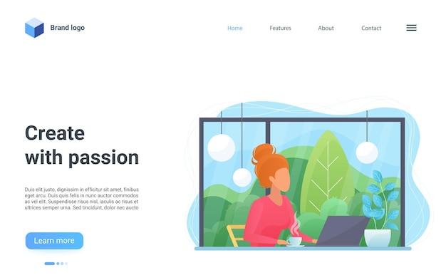 Создавайте с энтузиазмом концепцию создателя целевой страницы, женщину, работающую и создающую контент