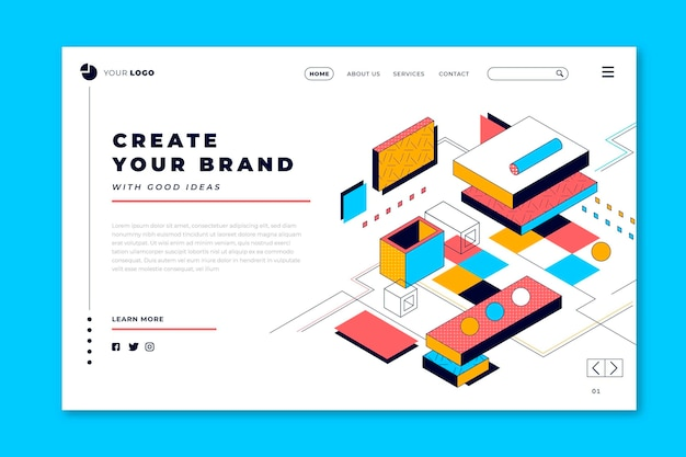 Create your brand lineal 3d landing page