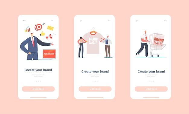 브랜드 모바일 앱 페이지 온보드 화면 템플릿을 만듭니다. 브랜드 아이덴티티를 위한 거대한 프로모션 제품이 있는 작은 남성 및 여성 캐릭터. 회사 광고 개념입니다. 만화 사람들 벡터 일러스트 레이 션