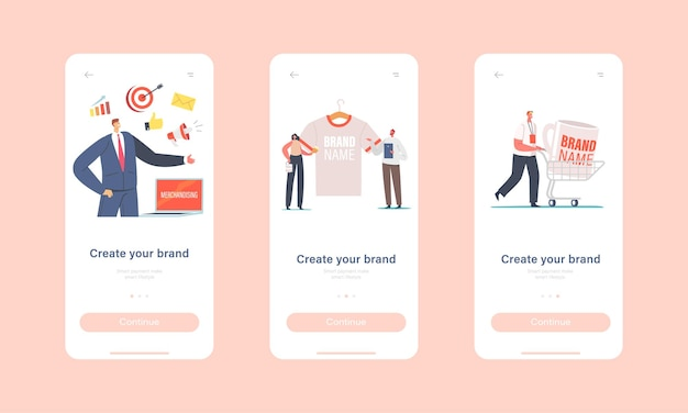 Create your brand mobile app page onboard screen template. tiny male and female characters with huge promotional products for brand identity. company advert concept. cartoon people vector illustration