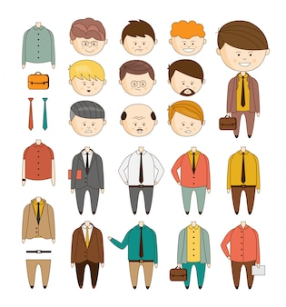 Create your ideal businessman. set of details to create a character doodle style