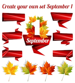 Create your own set of september with ribbons