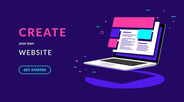 Create your own website flat vector neon illustration for web banner with text and button