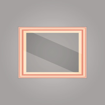 Created pink gold frame with mirror reflection