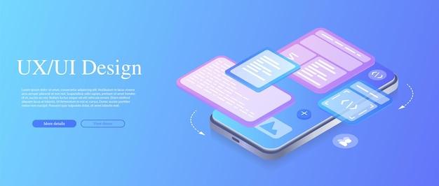 Создает индивидуальный дизайн для мобильного приложения ui ux design изометрическая интернет-база данных