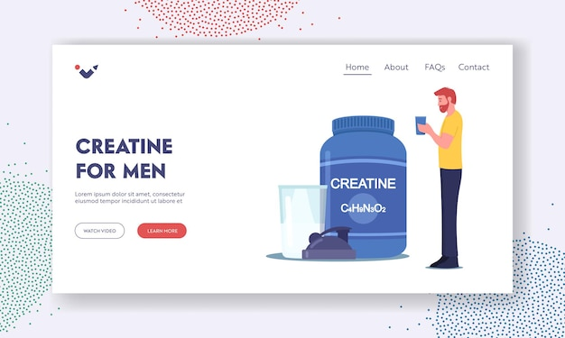 Creatine for men landing page template. sportsman character drink cocktail from shaker in gym. sportive lifestyle. bodybuilding activity and food for pumping muscles. cartoon vector illustration