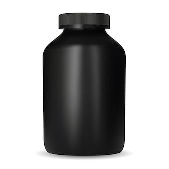 크레아틴 영양병. 블랙 디자인 단백질 컨테이너 모형. 스포츠 보충 알약 욕조 템플릿입니다. 카제인 이득은 나사 캡, 둥근 벡터 블랭크가 있는 캔입니다. 피트니스 약물 팩, 근육 운동