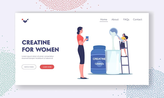 Creatine for women landing page template. tiny female character pour powder for making cocktails in shaker in gym. sportive nutrition for fitness recreation and activity. cartoon vector illustration
