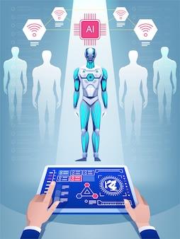 인공 지능으로 로봇을 만듭니다.