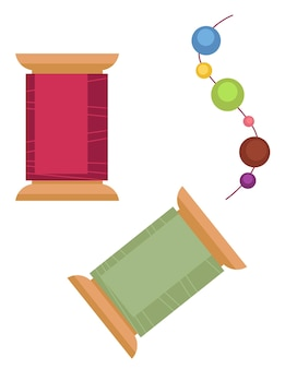 실과 구슬로 장식 만들기. 취미 수제 생산, 보석 제작 장비. 수제 양재 또는 재봉. 수업 또는 워크샵을 위한 용품, 플랫 스타일의 벡터