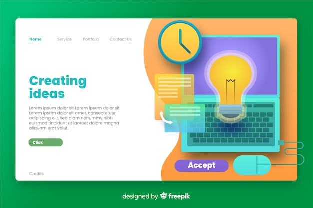 Creating ideas business landing page