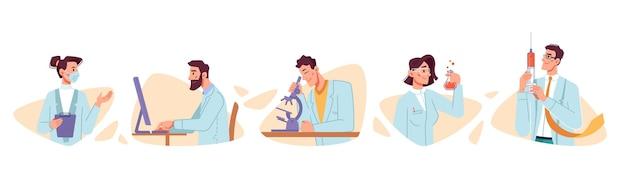 Создание и тестирование вакцины ученый борьбы с коронавирусом covid плоский набор персонажей мультфильма